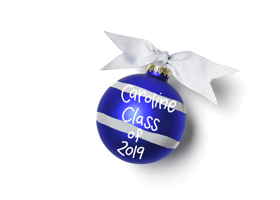 University of Kentucky Stripe Glass Ornament