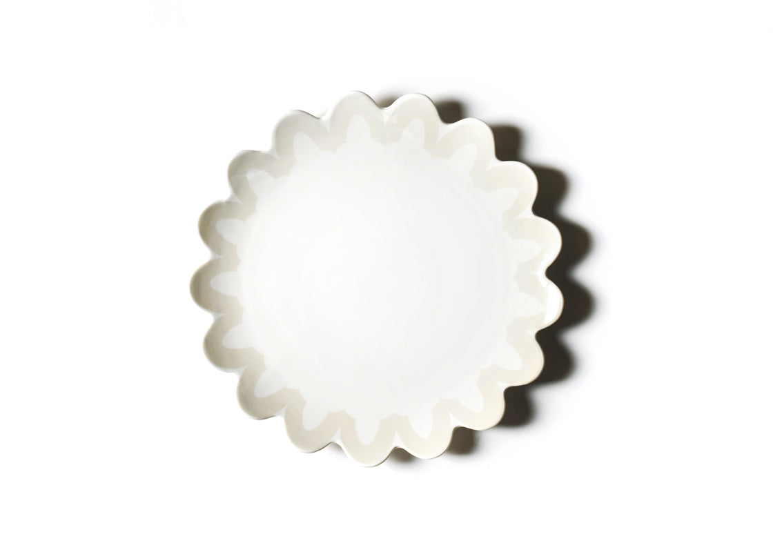 Ecru Arabesque Trim Scallop Edge Platter