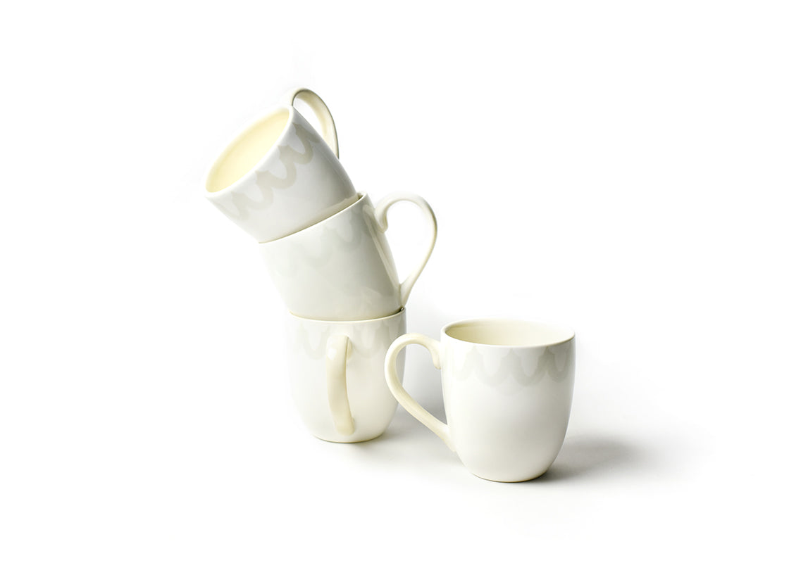 Ecru Arabesque Trim Mug Set, of 4