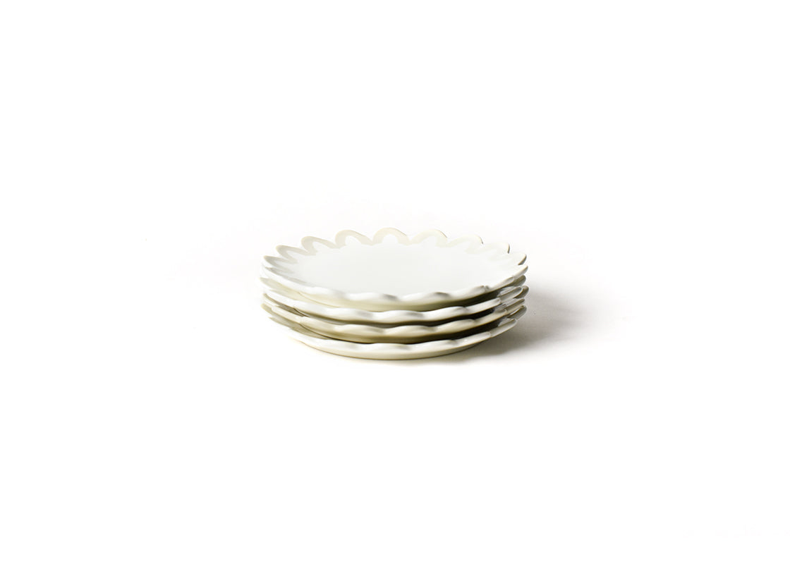 Ecru Arabesque Trim Scallop Edge Salad Plate, Set of 4