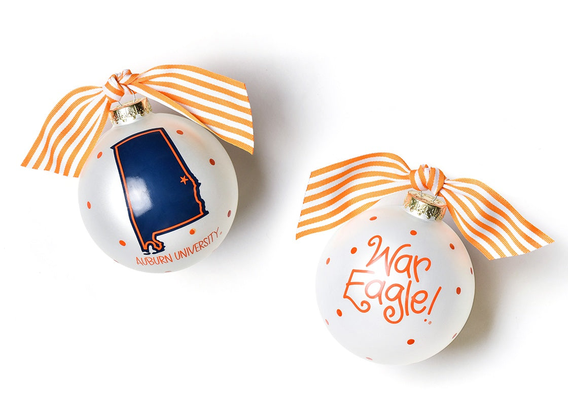 Auburn University State Glass Ornament