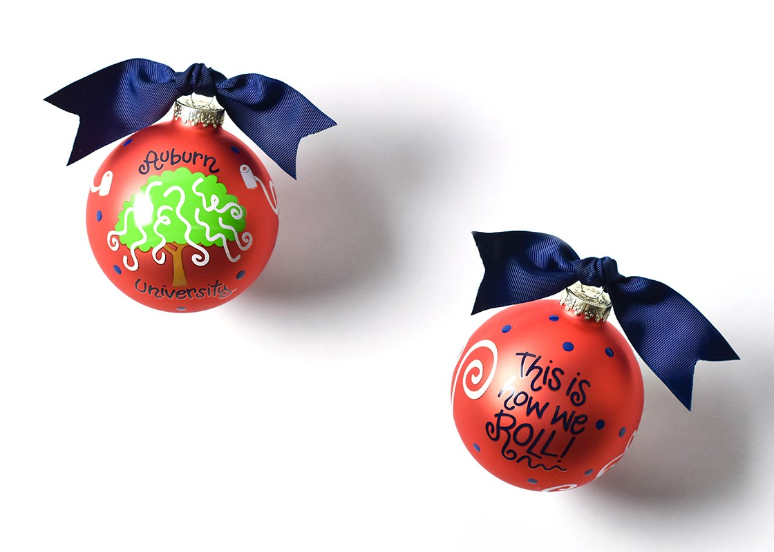 Auburn Toomer Roll Glass Ornament