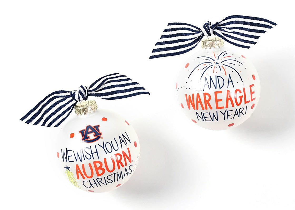 Auburn We Wish You Glass Ornament