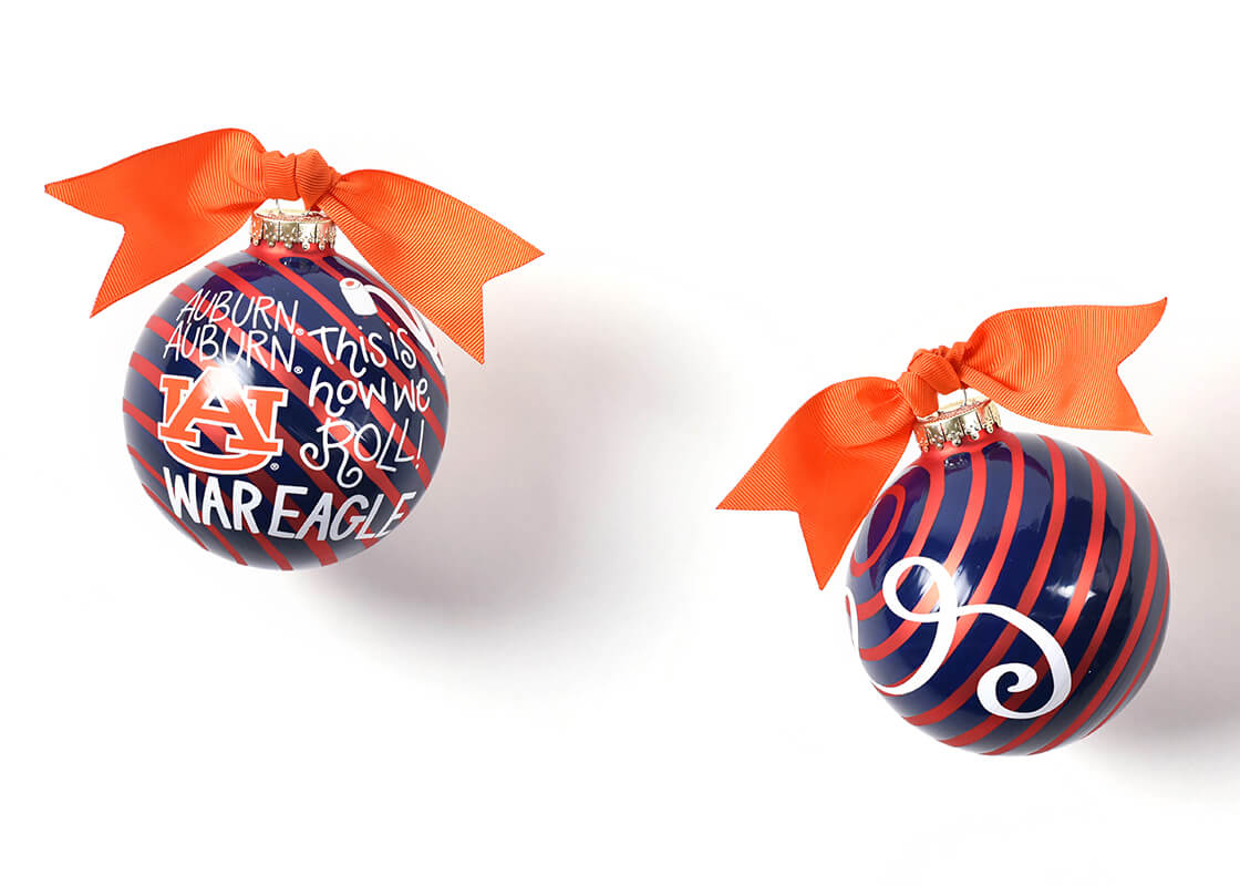 Auburn Word Collage Glass Ornament