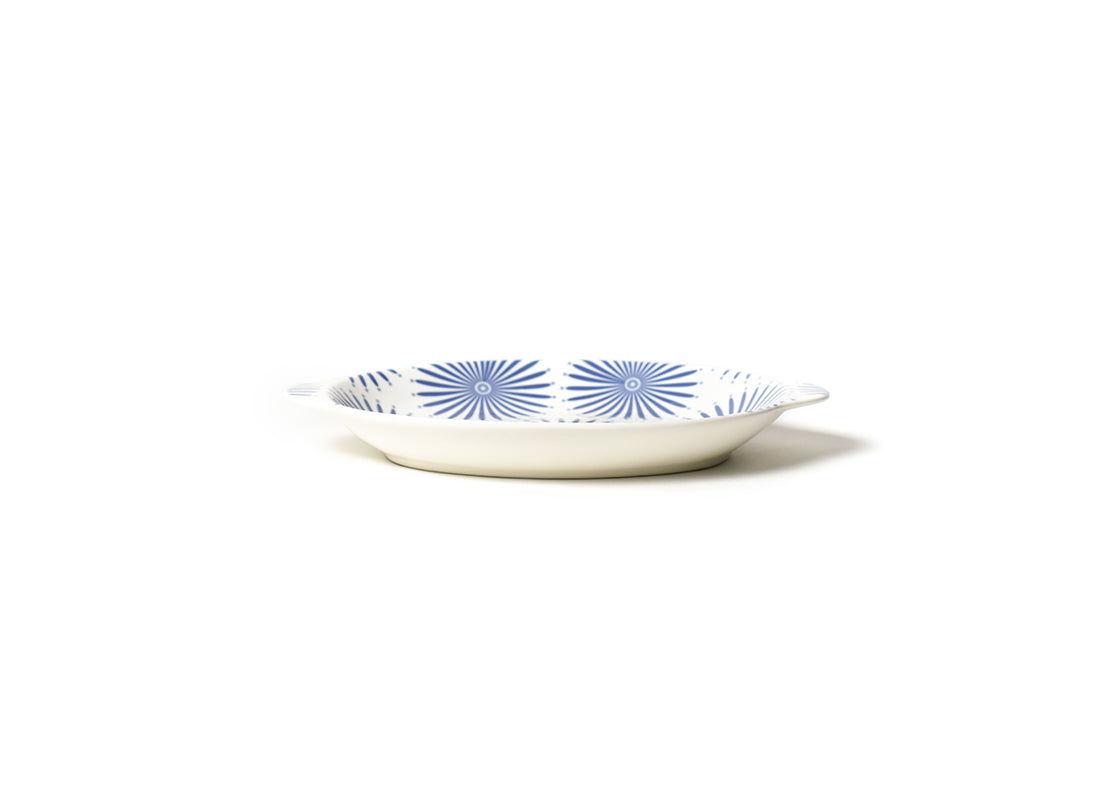 Iris Blue Burst Small Handled Oval Platter
