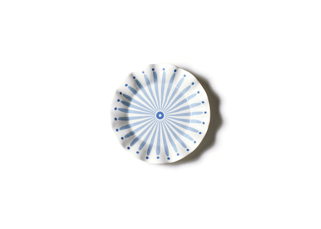 Iris Blue Burst Ruffle Salad Plate, Set of 4