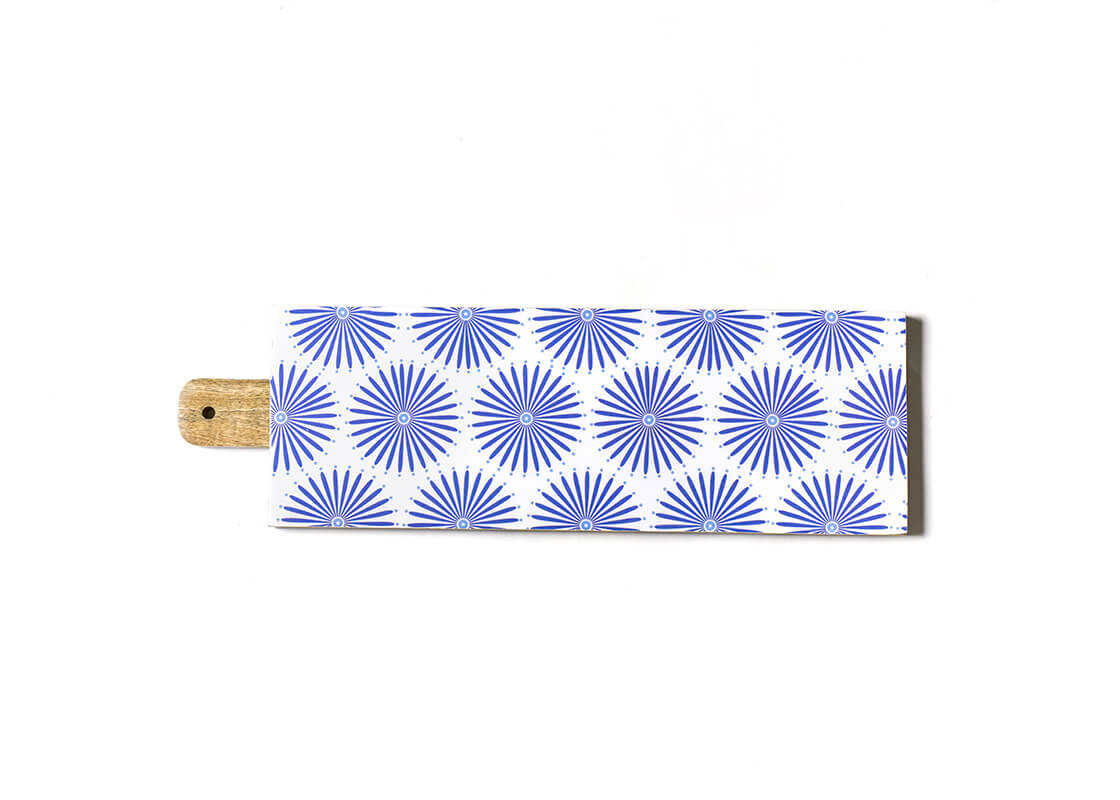 Iris Blue Burst Mango Wood Large Rectangle Board