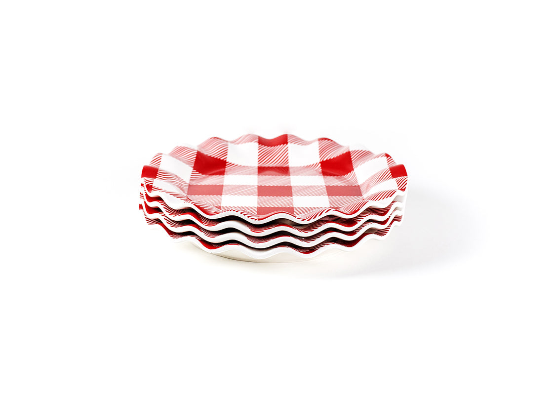 Buffalo Ruffle Dinner Plate Red, Set of 4
