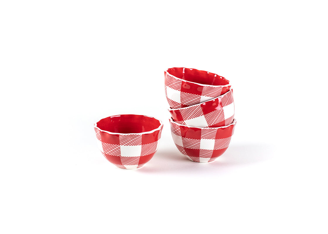 Buffalo Ruffle Small Bowl Red, Set of 4