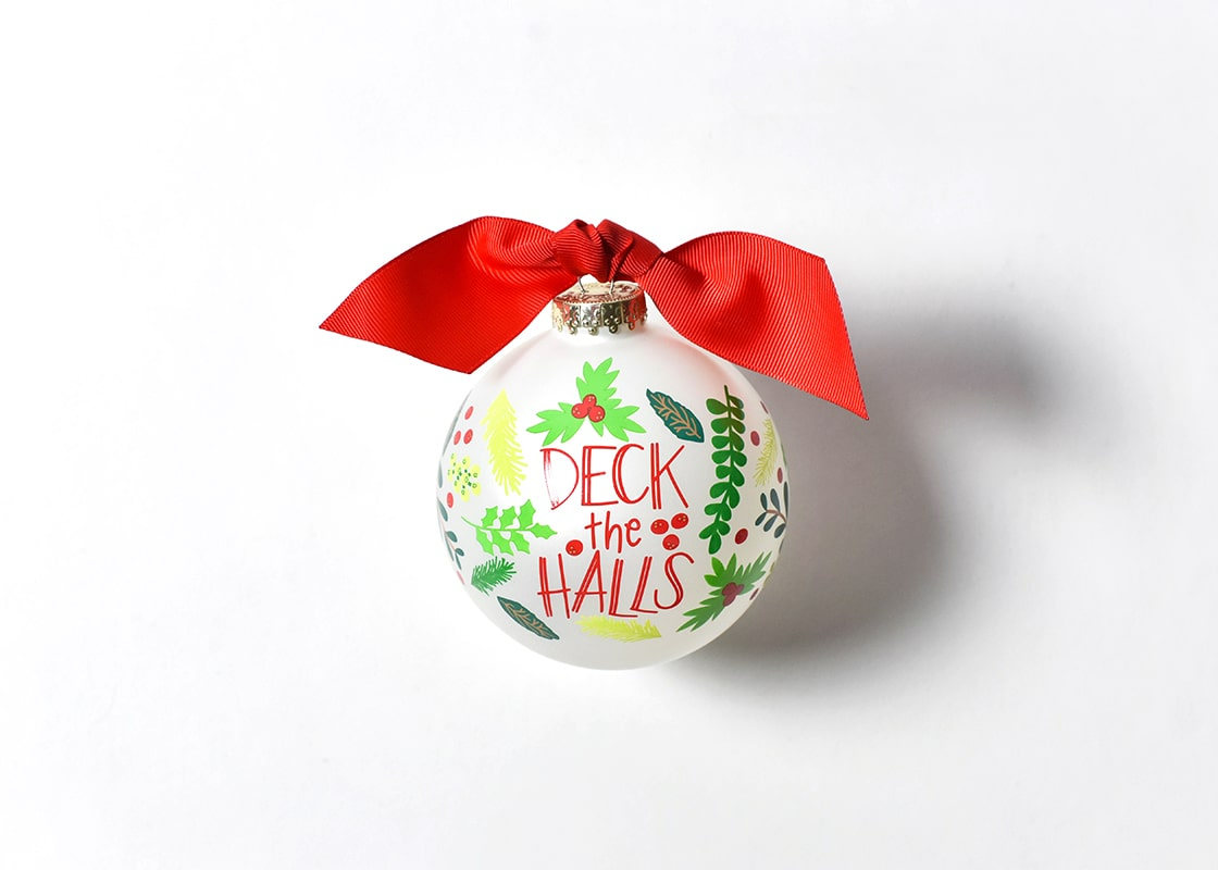 Deck The Halls Glass Ornament