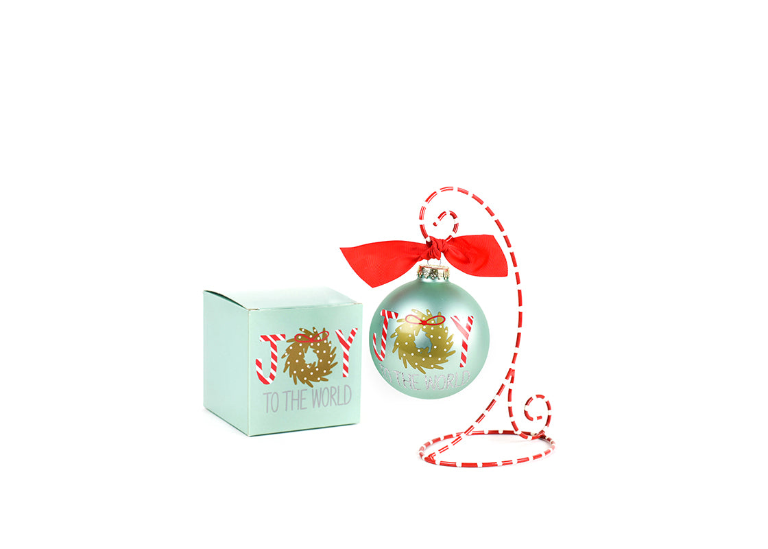 Joy To The World Wreath Glass Ornament