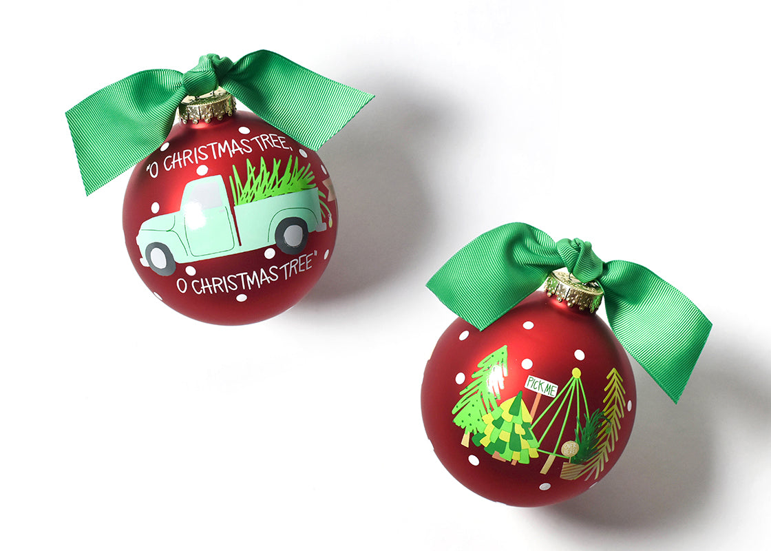 O Christmas Tree Farm Glass Ornament