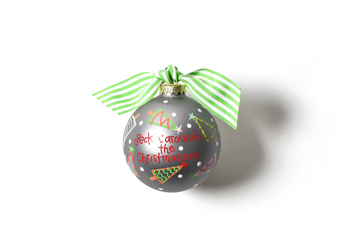 Rockin' Around The Christmas Tree Glass Ornament