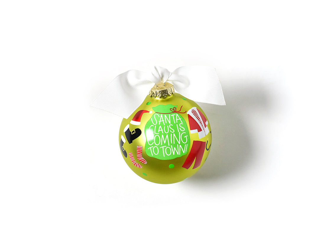 Santa Claus Is Coming To Town Glass Ornament