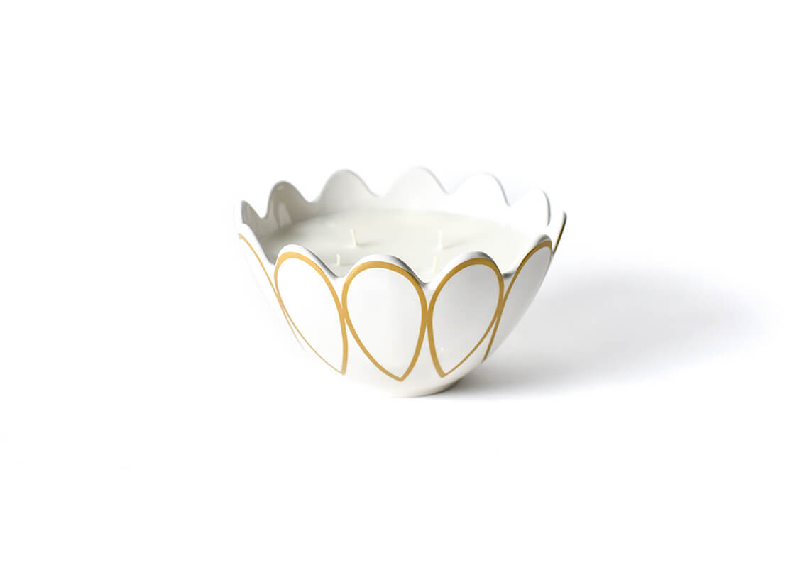 "Celebrate Gold Scallop Edge 9"" Bowl Candle"