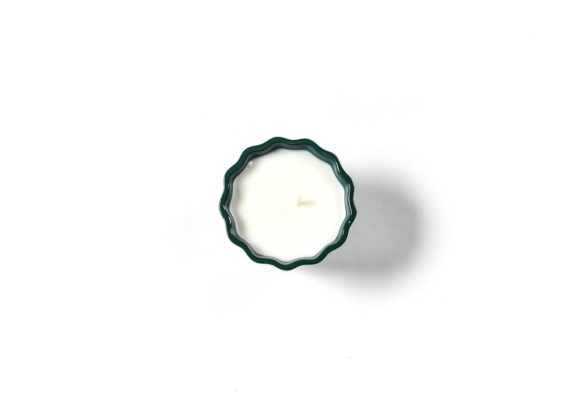 Celebrate Emerald Stripe Ruffle Appetizer Bowl Candle