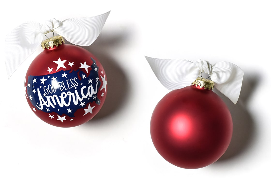 God Bless America Glass Ornament