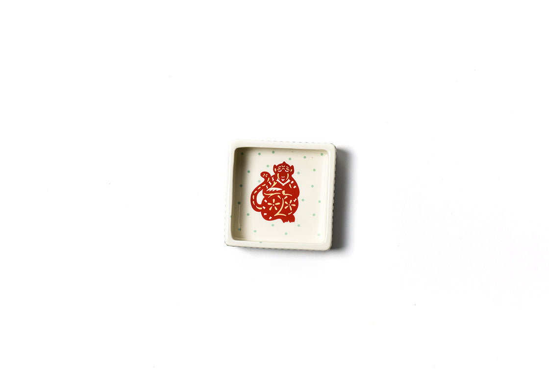 Chinese Zodiac Monkey Square Trinket Bowl