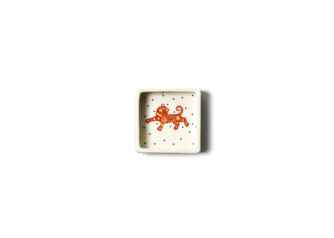 Chinese Zodiac Tiger Square Trinket Bowl