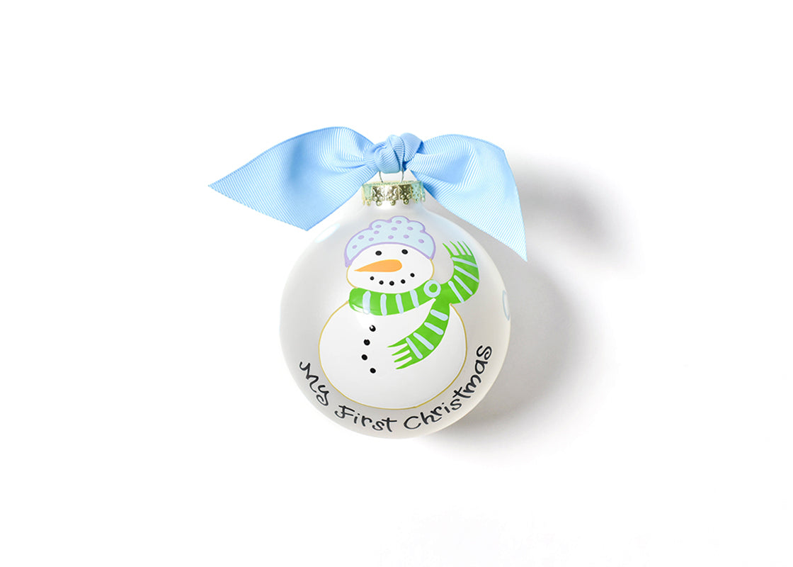 My First Christmas Snowman Boy Glass Ornament