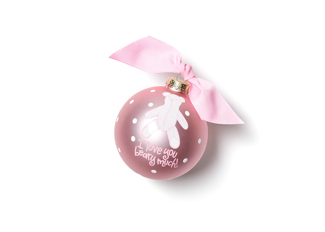 I Love You Beary Much Girl Glass Ornament