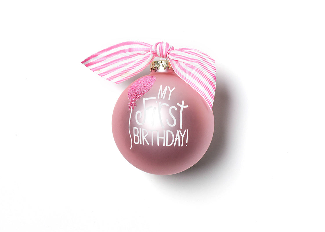 My First Birthday Girl Glass Ornament