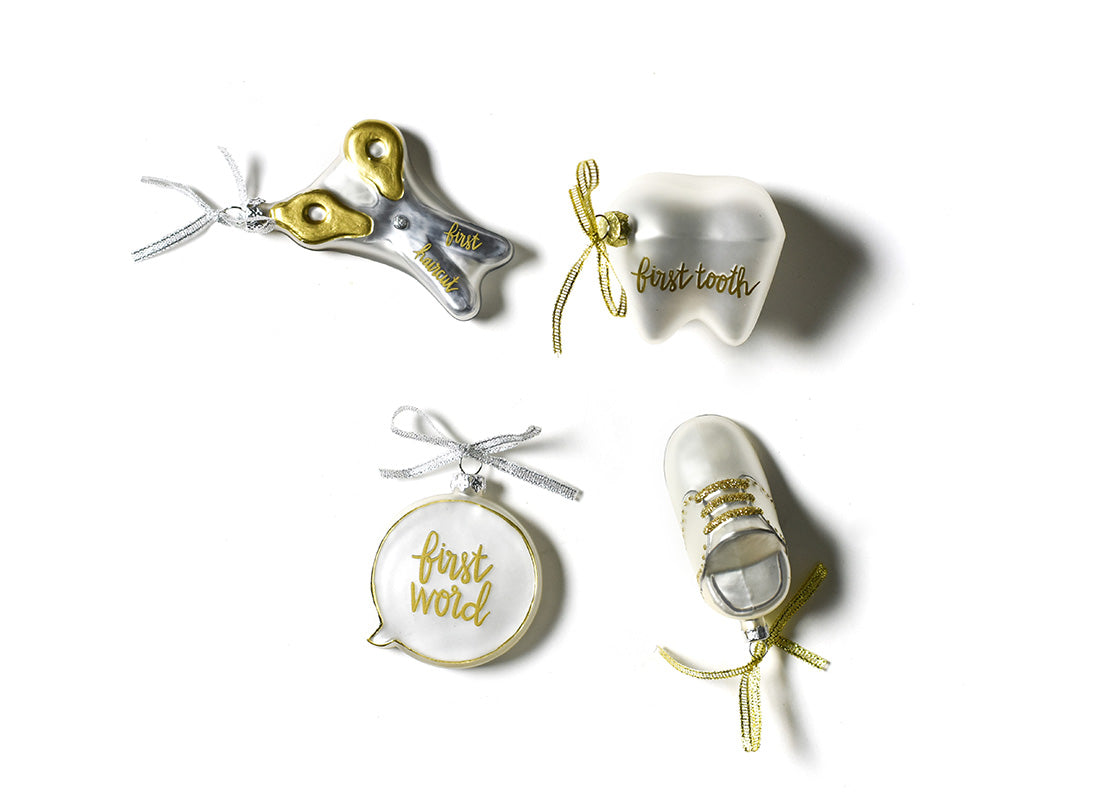 Baby's First Milestones Glass Ornaments, Set of 4
