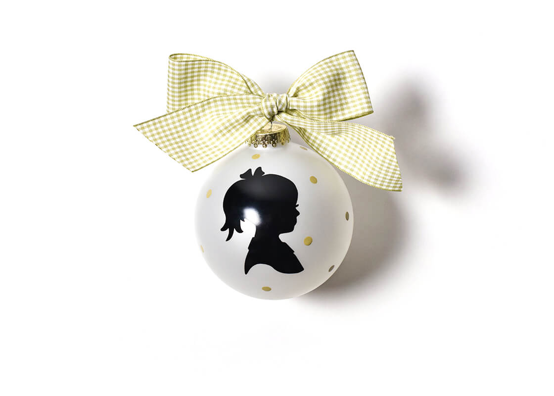 Girl Silhouette Glass Ornament
