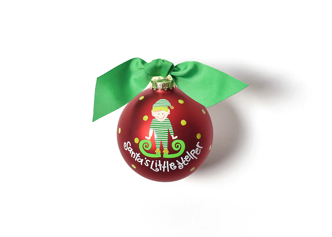 Santa's Little Helper Boy Glass Ornament