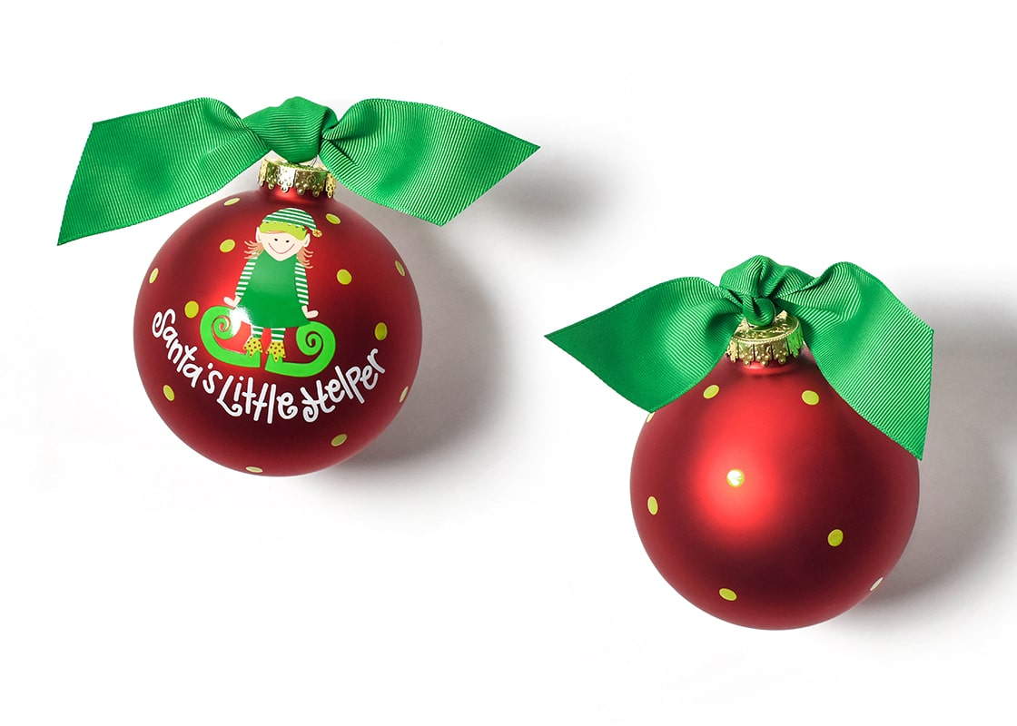 Santa's Little Helper Girl Glass Ornament