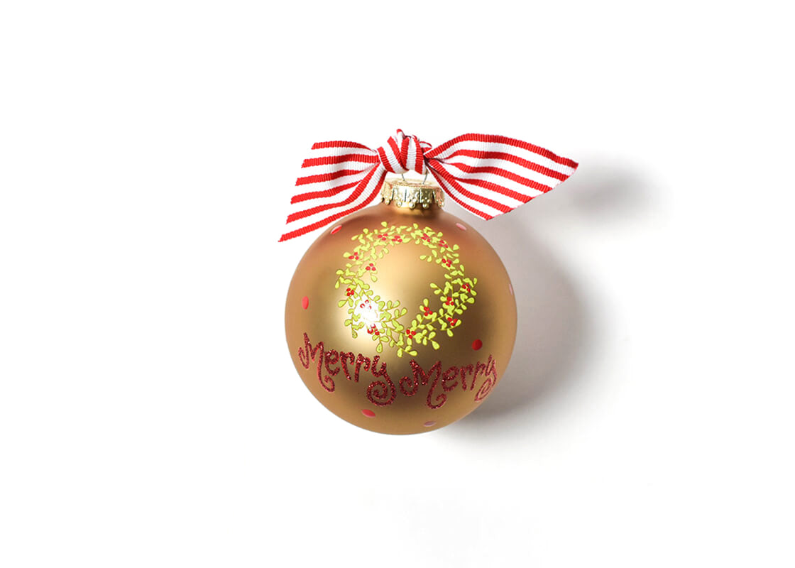 Merry Merry Boxwood Wreath Glass Ornament