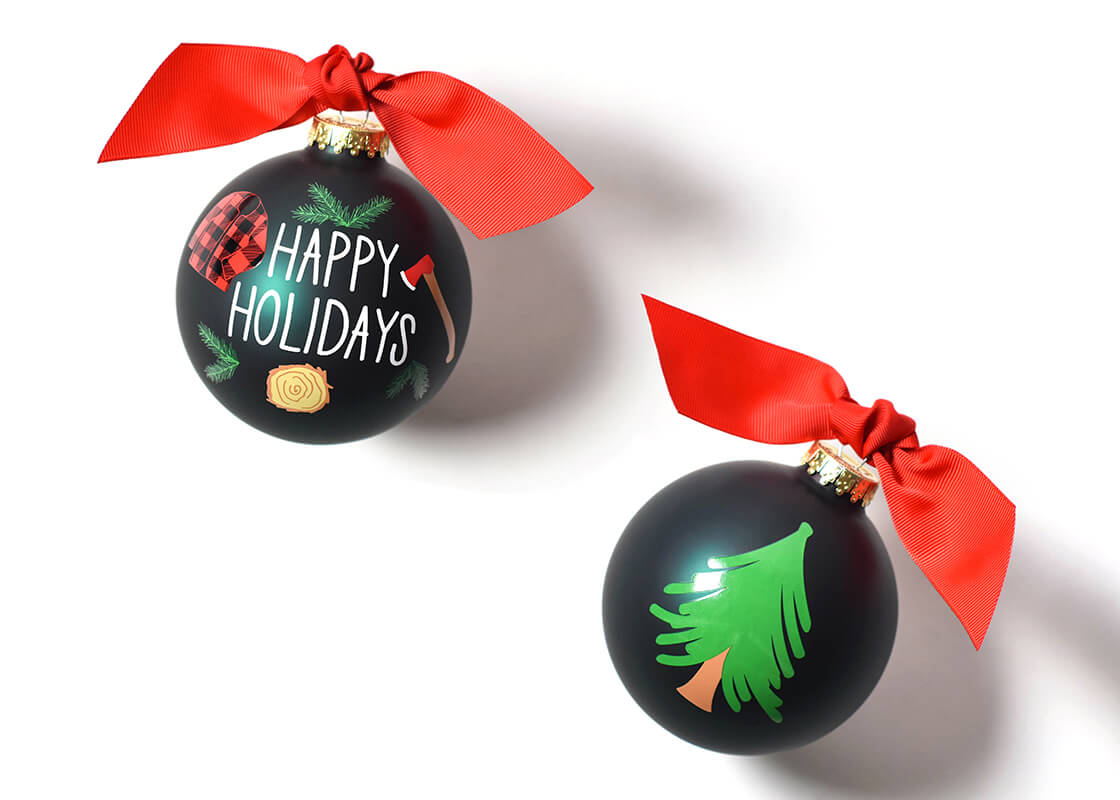 Happy Holidays Cutting Down The Tree Glass Ornament
