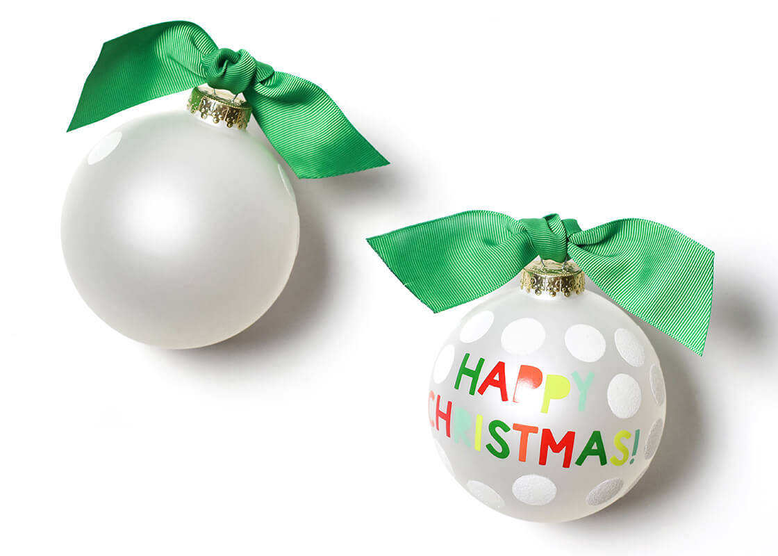 Happy Christmas Dot Glass Ornament