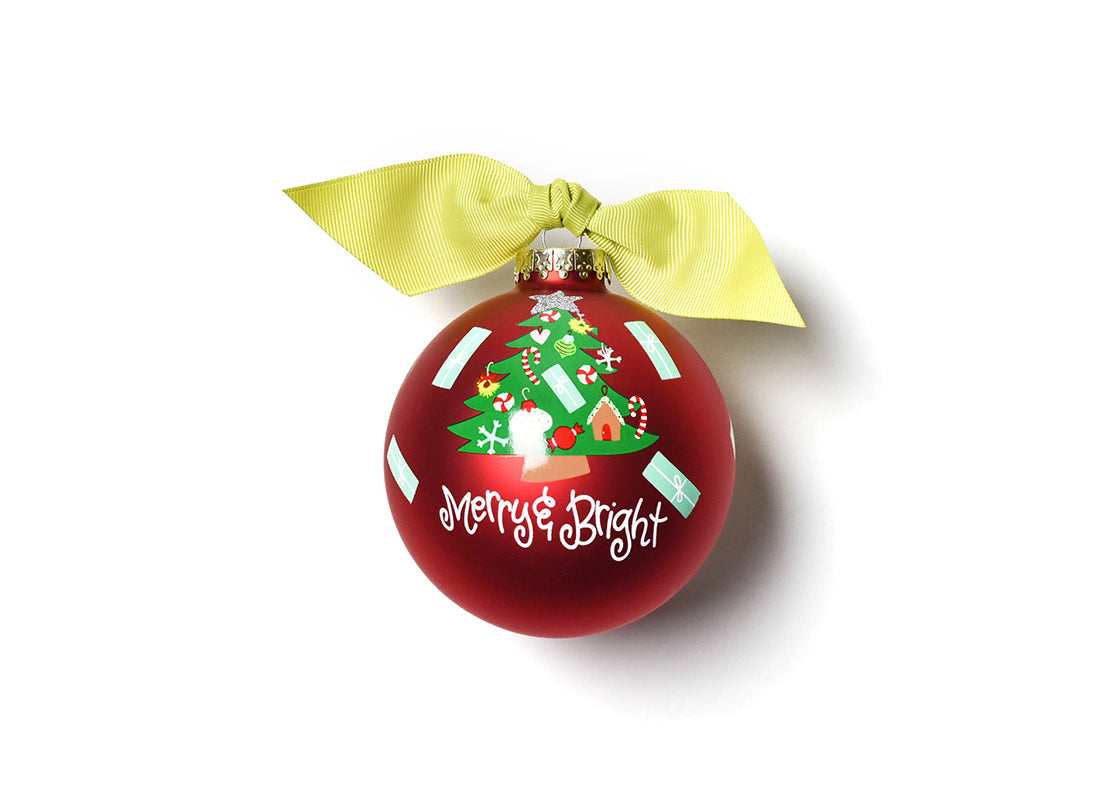 Merry & Bright Vintage Tree Glass Ornament
