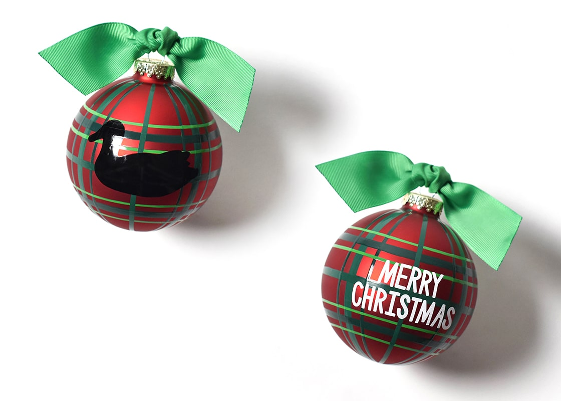 Merry Christmas Duck Decoy Glass Ornament