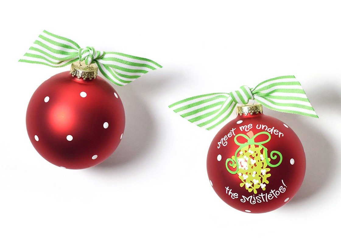Meet Me Under The Mistletoe Glass Ornament