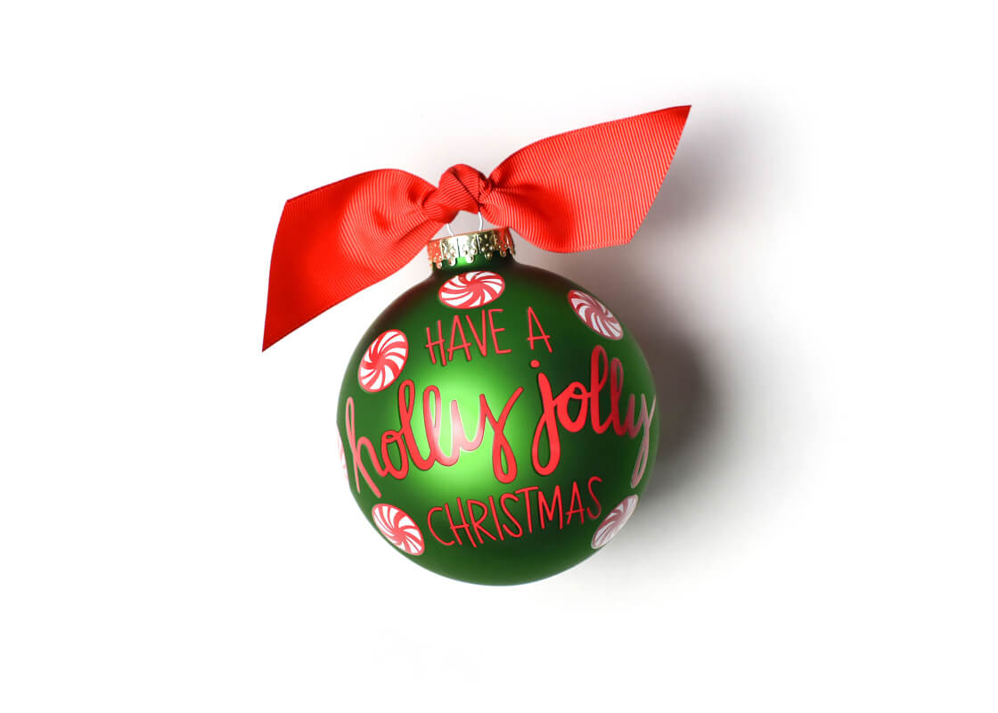 Holly Jolly Peppermint Glass Ornament