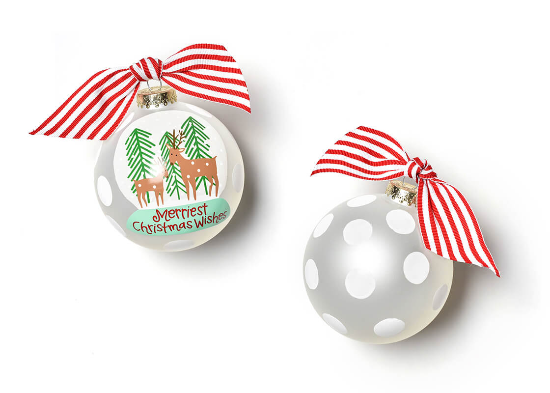 Christmas Wishes Snow Globe Glass Ornament