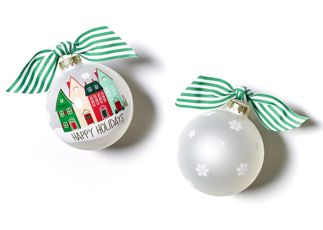 Vintage Village Glass Ornament