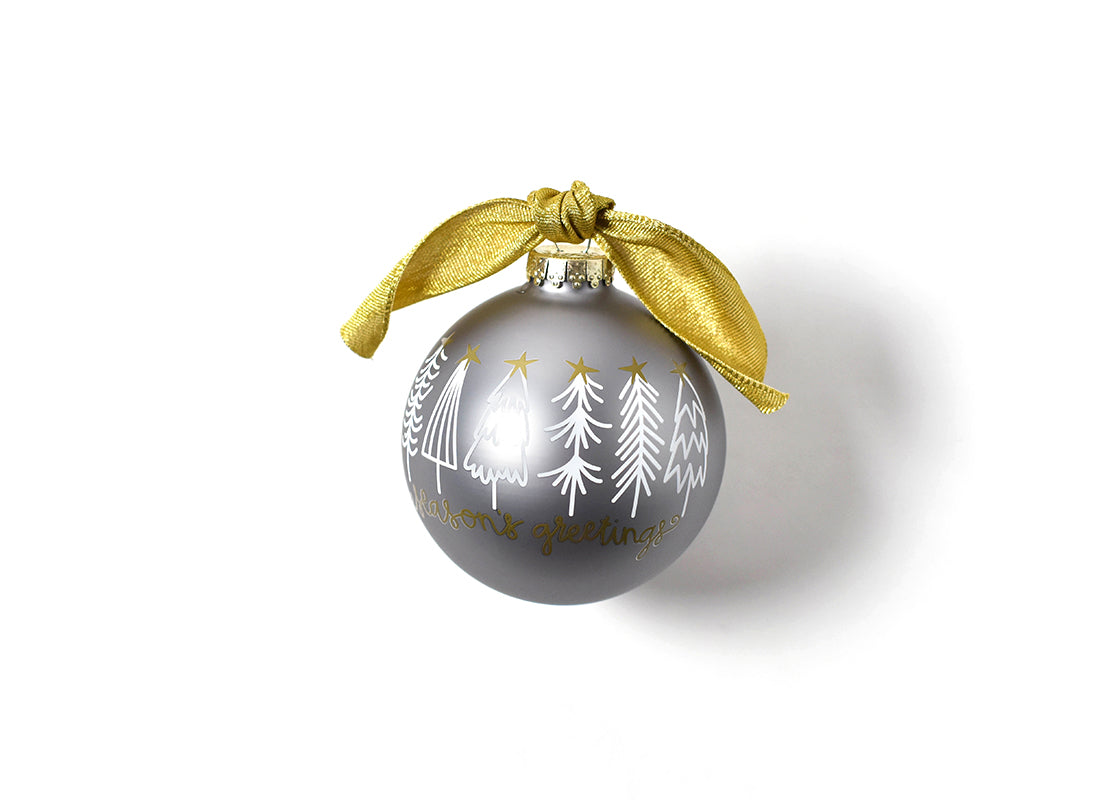 Season's Greetings White Trees Glass Ornament
