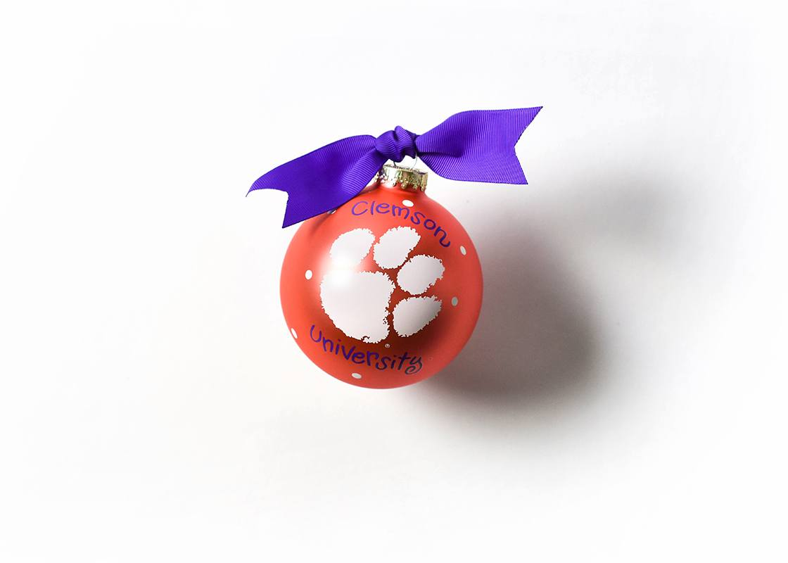 Clemson Logo Glass Ornament
