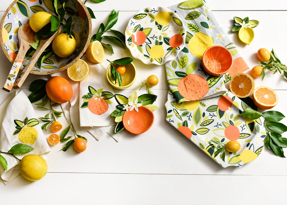 Citrus Mango Wood Salad Server Set
