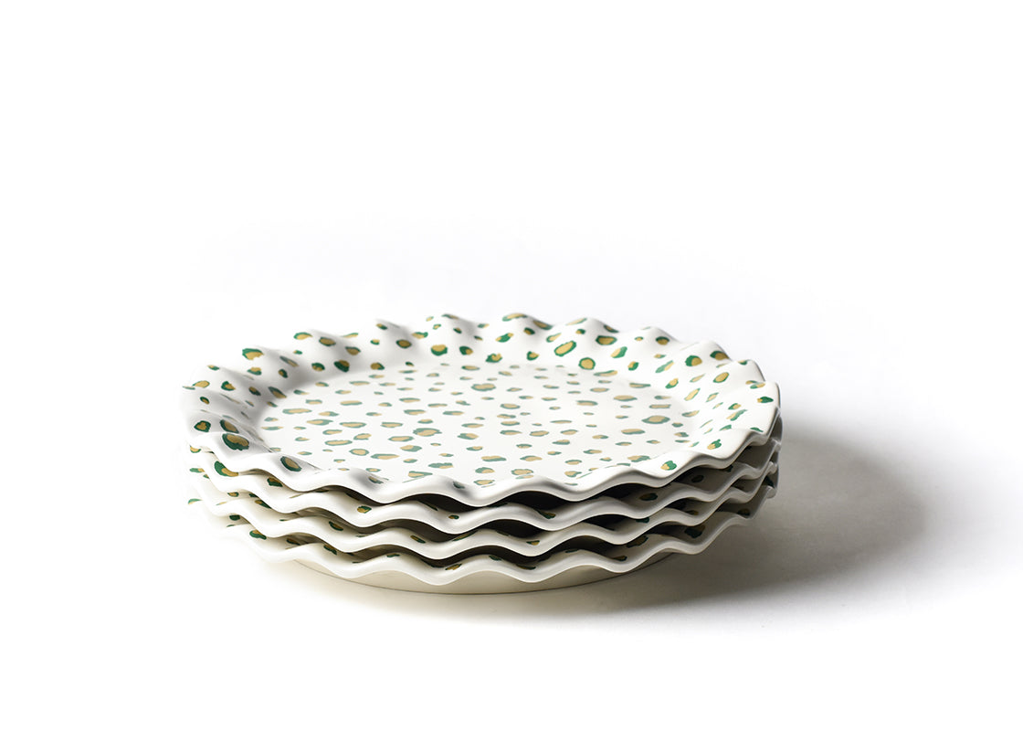 Emerald Double Dot Round Ruffle Platter, Set of 4