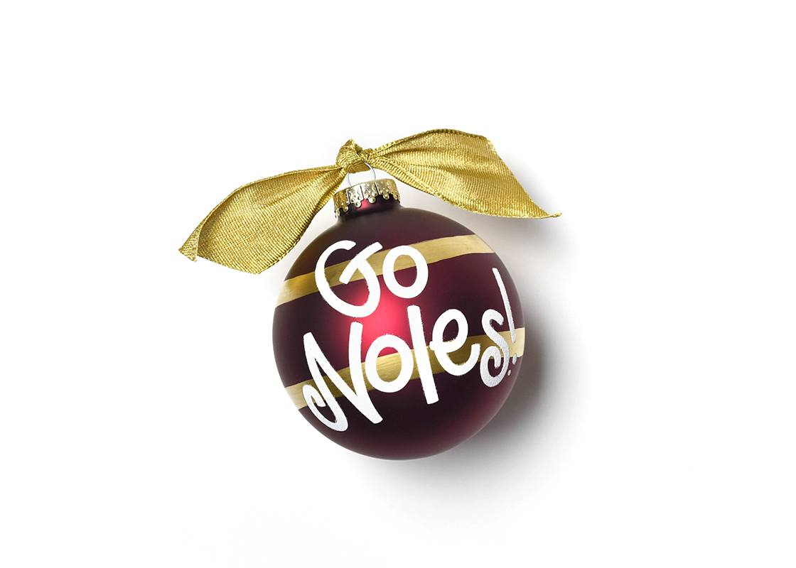 Florida State University Stripe Glass Ornament
