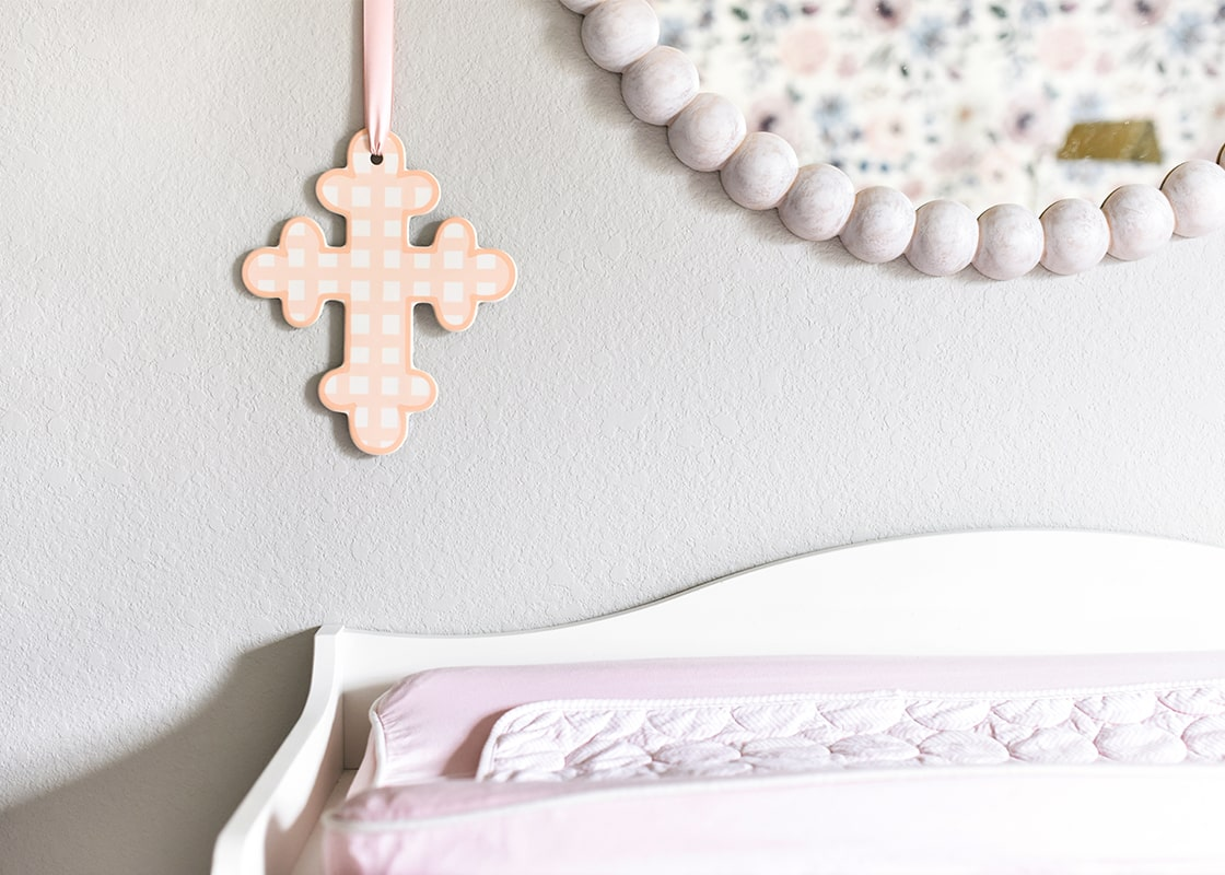 "Pink Gingham 10"" Cross"