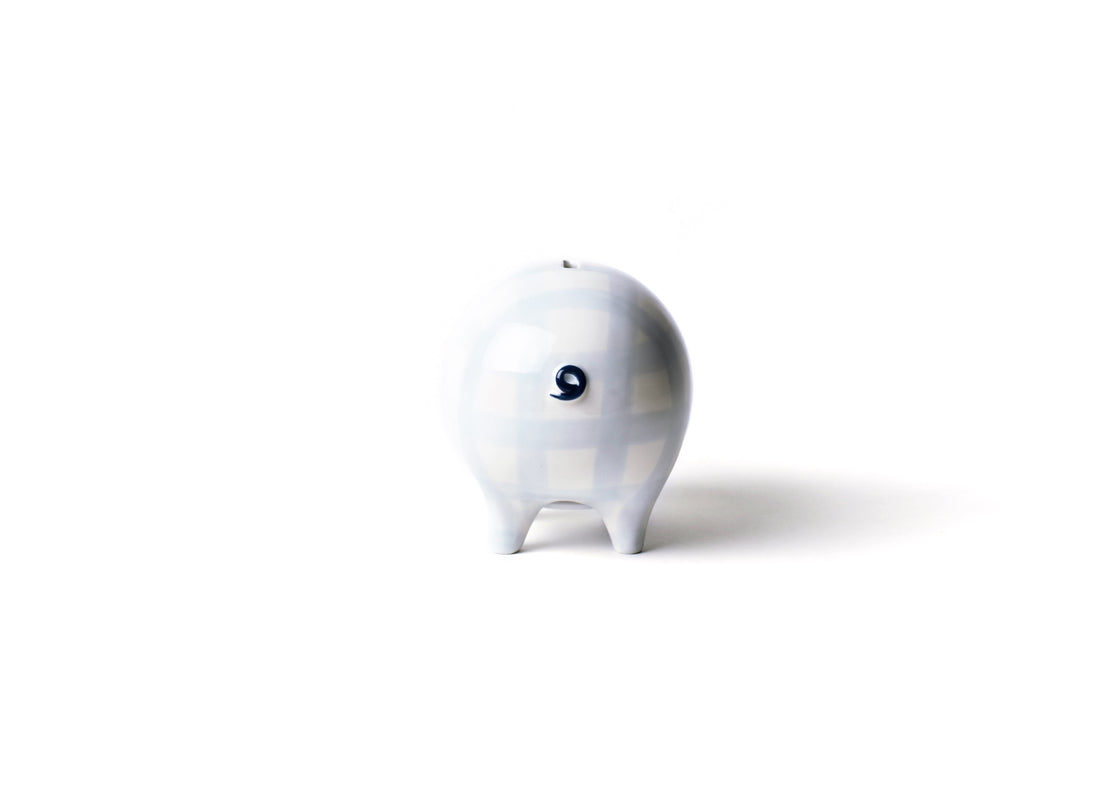 Blue Gingham Piggy Bank