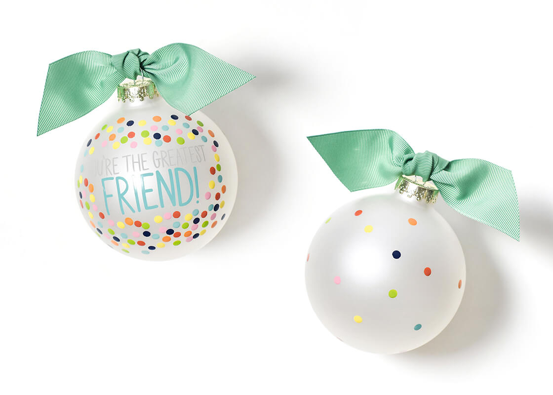 Greatest Friend Bright Confetti Glass Ornament