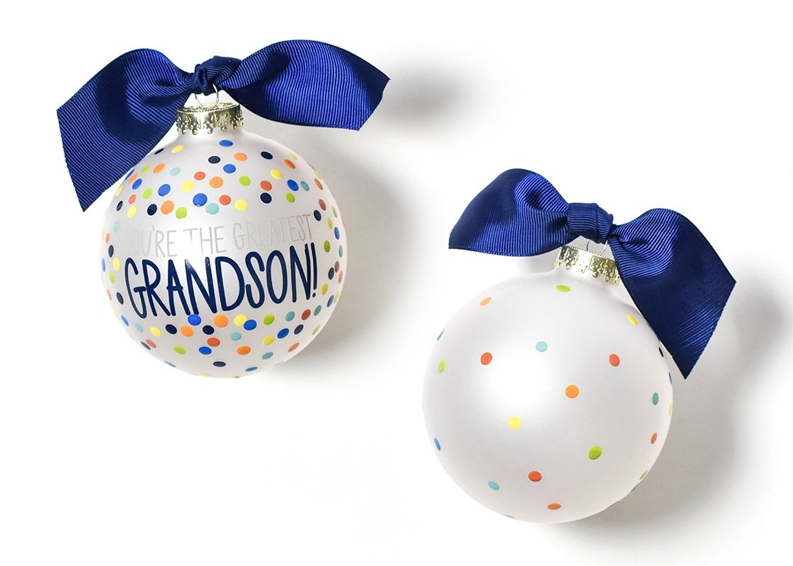 Greatest Grandson Bright Confetti Glass Ornament