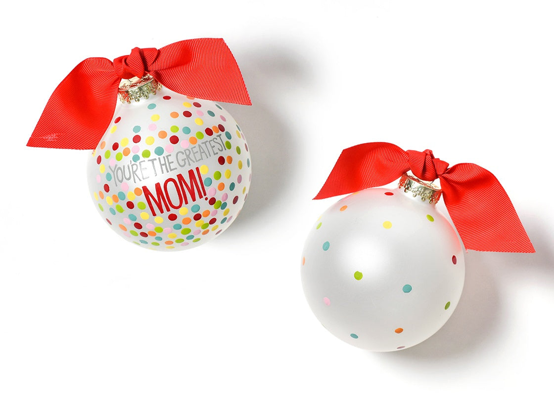 Greatest Mom Bright Confetti Glass Ornament