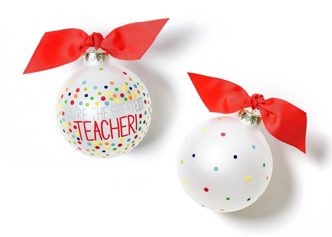 Greatest Teacher Bright Confetti Glass Ornament